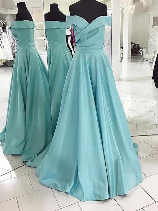 Green Satin Off-the-Shoulder A-Line/Princess Sweep/Brush Train Dresses