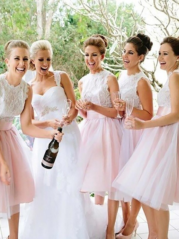 Pink Tulle Scoop A-Line/Princess Knee-Length Bridesmaid Dresses