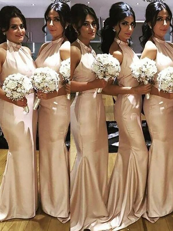 Champagne Satin Halter Trumpet/Mermaid Floor-Length Bridesmaid Dresses