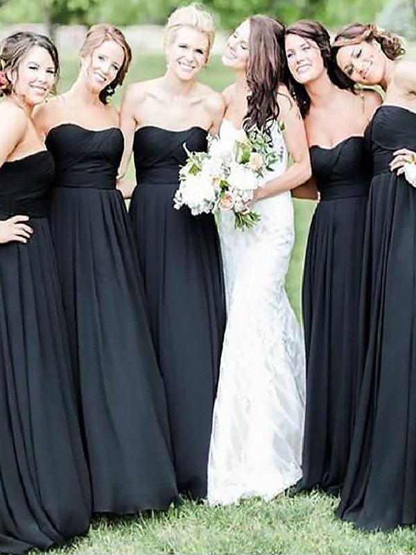 Black Chiffon Sweetheart A-Line/Princess Floor-Length Bridesmaid Dresses