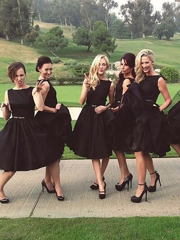 Black Satin Scoop A-Line/Princess Knee-Length Bridesmaid Dresses