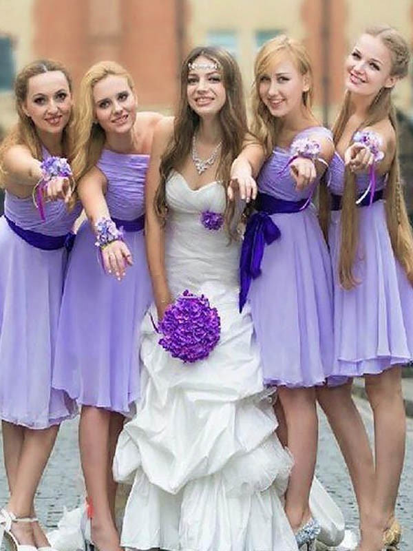 Lilac Chiffon One-Shoulder A-Line/Princess Short/Mini Bridesmaid Dresses