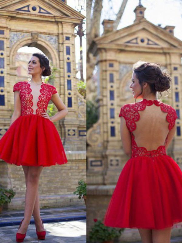 Red Tulle Scoop A-line/Princess Short/Mini Dresses