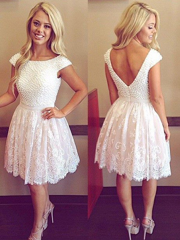 White Lace Scoop A-line/Princess Short/Mini Dresses