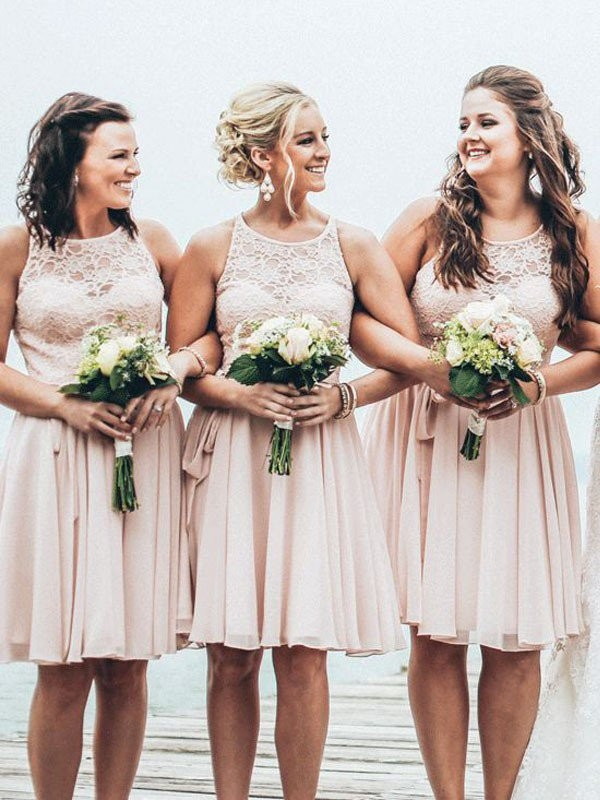 Pink Chiffon Scoop A-Line/Princess Short/Mini Bridesmaid Dresses