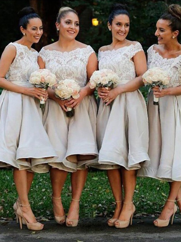 Ivory Chiffon Off-the-Shoulder A-Line/Princess Knee-Length Bridesmaid Dresses