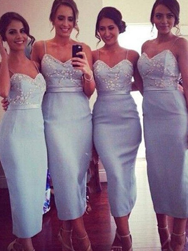 Blue Satin Spaghetti Straps Sheath/Column Knee-Length Bridesmaid Dresses