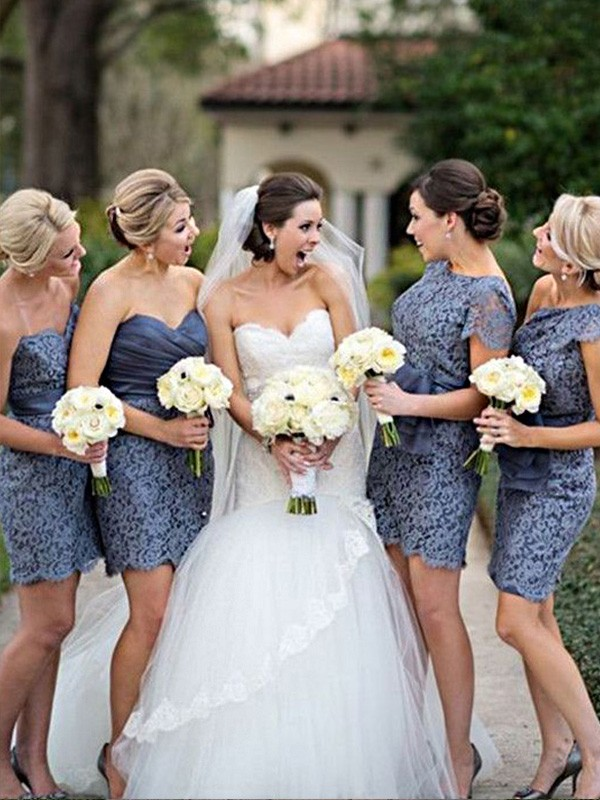 Grey Lace Sweetheart Sheath/Column Short/Mini Bridesmaid Dresses