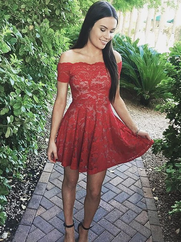 Red Lace Off-the-Shoulder A-line/Princess Short/Mini Homecoming Dresses