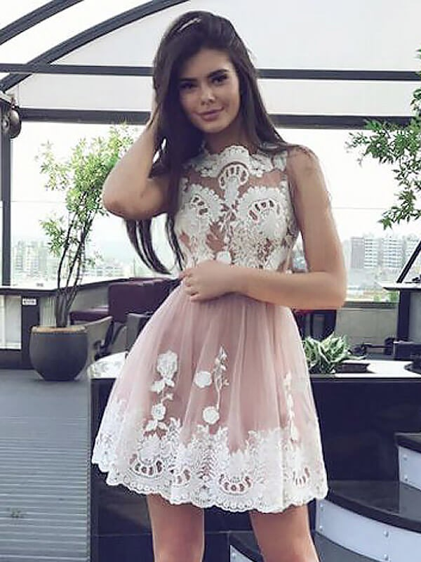 Pink Chiffon Scoop A-line/Princess Short/Mini Homecoming Dresses