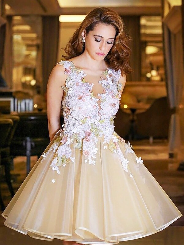 Champagne Organza Scoop A-line/Princess Short/Mini Homecoming Dresses