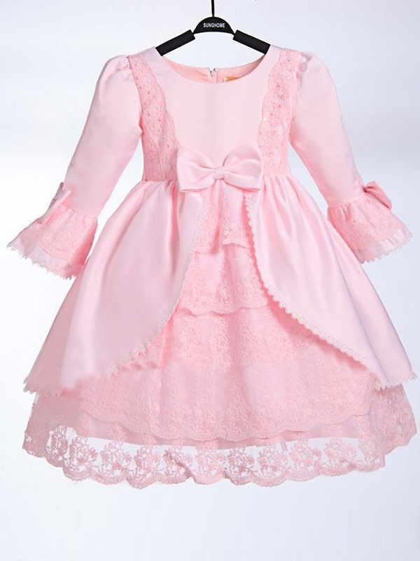 Pink Satin Scoop A-Line/Princess Floor-Length Flower Girl Dresses