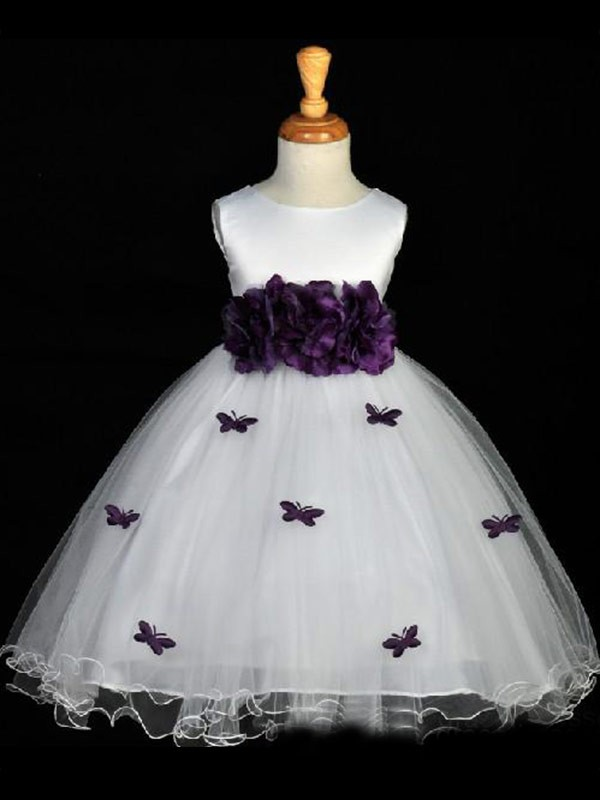 White Organza Scoop A-Line/Princess Floor-Length Flower Girl Dresses