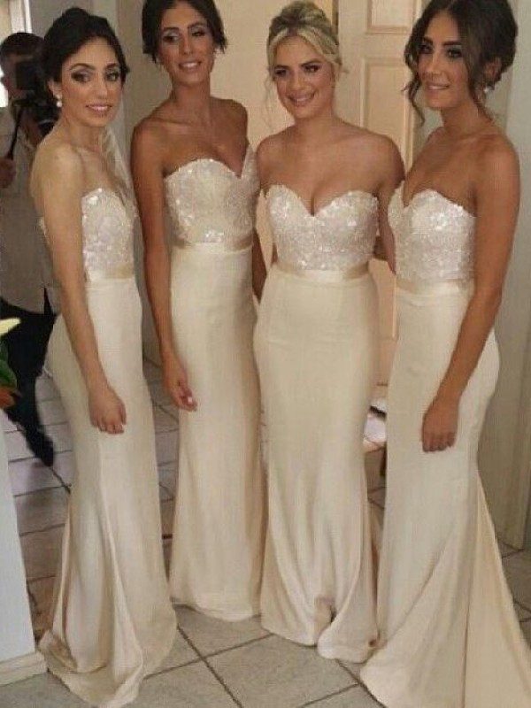 Ivory Satin Sweetheart Trumpet/Mermaid Sweep/Brush Train Bridesmaid Dresses