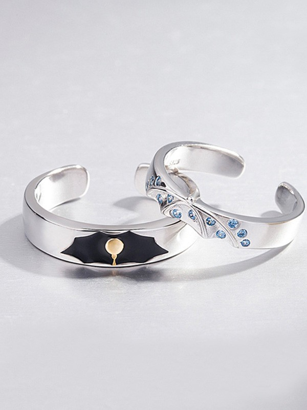 Graceful 925 Sterling Silver With Rhinestone Adjustable Couple Rings