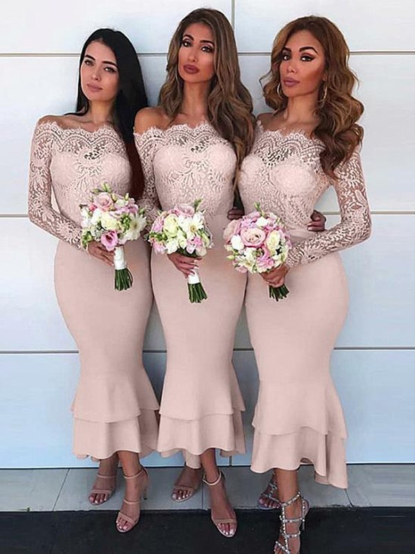 Pearl Pink Jersey Off-the-Shoulder Sheath/Column Ankle-Length Bridesmaid Dresses