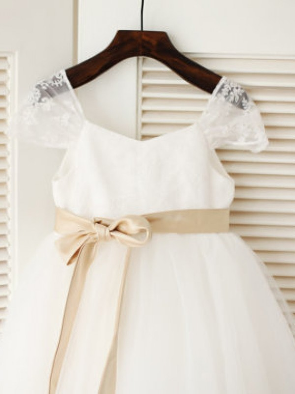 White Tulle Scoop Ball Gown Tea-Length Flower Girl Dresses
