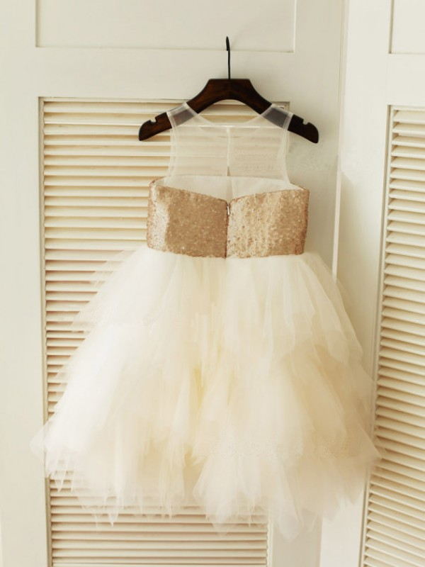 Ivory Tulle Scoop Ball Gown Tea-Length Flower Girl Dresses