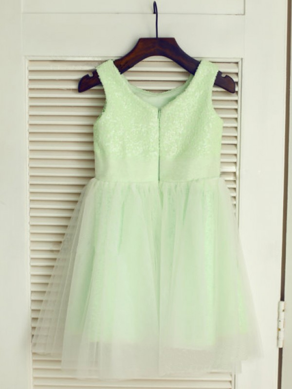 Sage Tulle Scoop A-Line/Princess Tea-Length Flower Girl Dresses