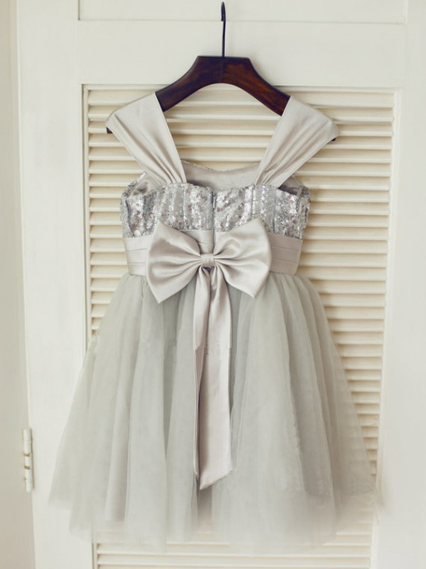 Grey Tulle Straps A-Line/Princess Tea-Length Flower Girl Dresses