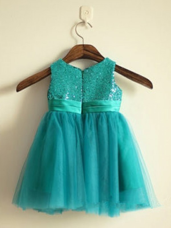 Green Tulle Scoop A-Line/Princess Knee-Length Flower Girl Dresses