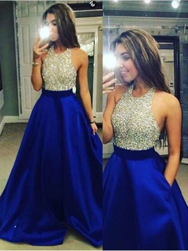Royal Blue Satin Jewel Ball Gown Floor-Length Prom Dresses - Bonnyin.com